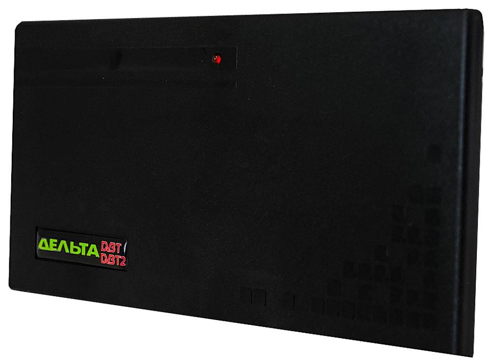 Дельта Цифра 5V комнатная ТВ-антенна (активная)14862Антенна Дельта Цифра предназначена для приёма телевизионных программ в ДМВ-диапазоне цифрового телевещания черезприставку DVB-T2. Рассчитана для работы в интервале температур от 5 до 35 °С и предельном значенииотносительной влажности воздуха 80% при 25 °С.Антенна укомплектована усилителем для повышения уровня сигнала и компенсации его затухания в кабелеантенны. Антенный усилитель не имеет собственного источника и рассчитан на питание 5 В, подводимое покабелю антенны от источника, встроенного в цифровую приставку DVB-T2.
