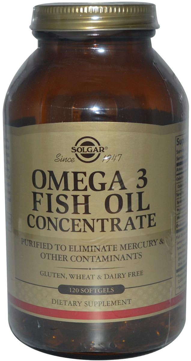 Концентрат рыбьего жира Омега-3 Солгар, 60 капсул221523Данная формула представляет собой натуральный концентрированный рыбий жир с оптимальным содержанием омега-3 полиненасыщенных жирных кислот, которые способствуют защите зрения, улучшению работы головного мозга, профилактике сердечно-сосудистых заболеваний, снижению уровня холестерина, способствуют хорошему настроению.При производстве капсул Концентрат рыбьего жира Омега-3 применяется уникальная технология молекулярная дистилляция, которая позволяет удалить соли тяжелых металлов из рыбьего жира. Для защиты от прогоркания и окисления в каждую капсулу Концентрата рыбьего жира Омега-3 добавлен натуральный витамин Е. Сфера применения: витаминология, омега.