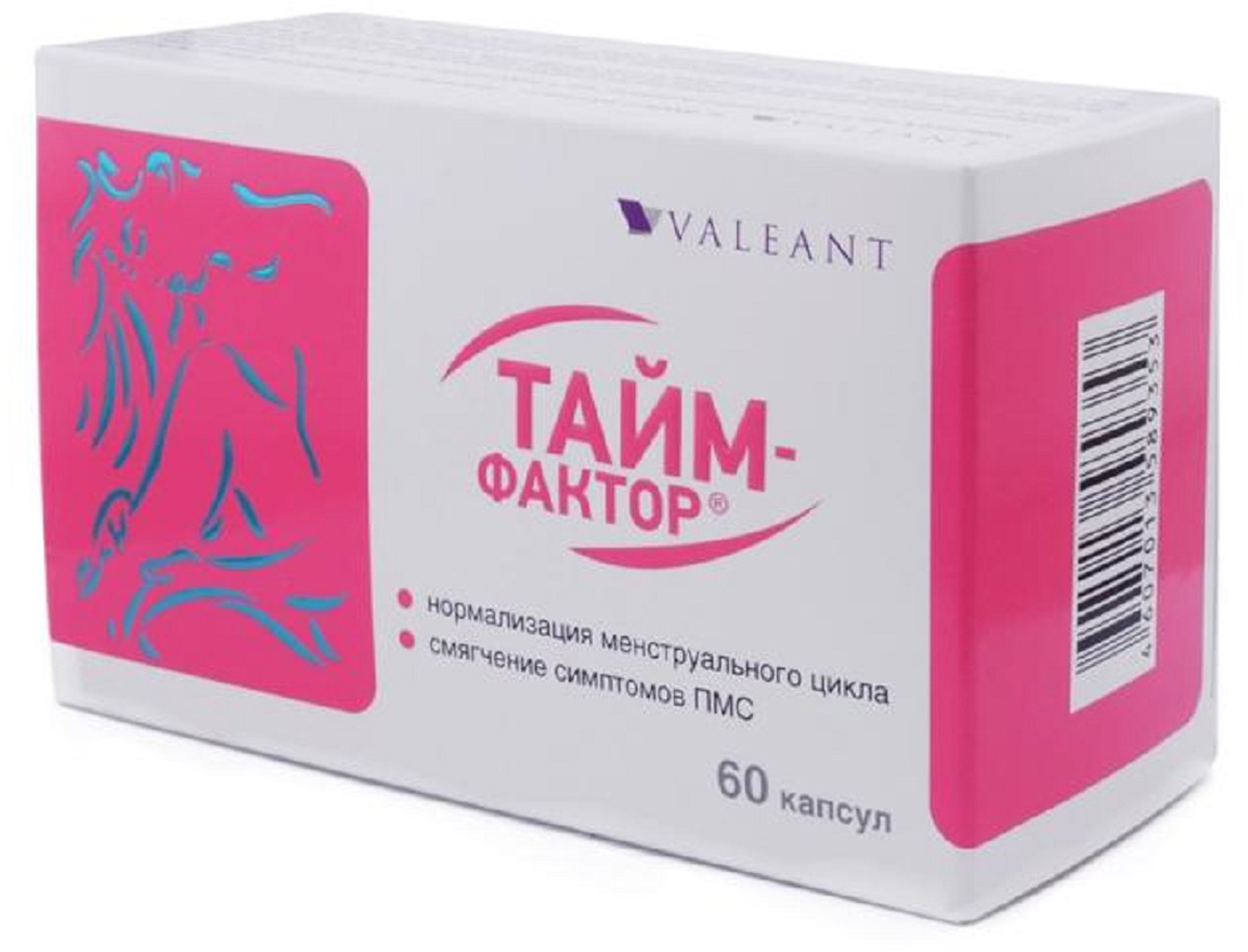 Тайм-фактор капсулы №60221837Действие ТАЙМ-ФАКТОР направлено на нормализацию менструального цикла, регулирование его длительности, на поддержание гормонального баланса при предменструальном синдроме (ПМС). Сфера применения: Акушерство и гинекологияПротивоклимактерическое