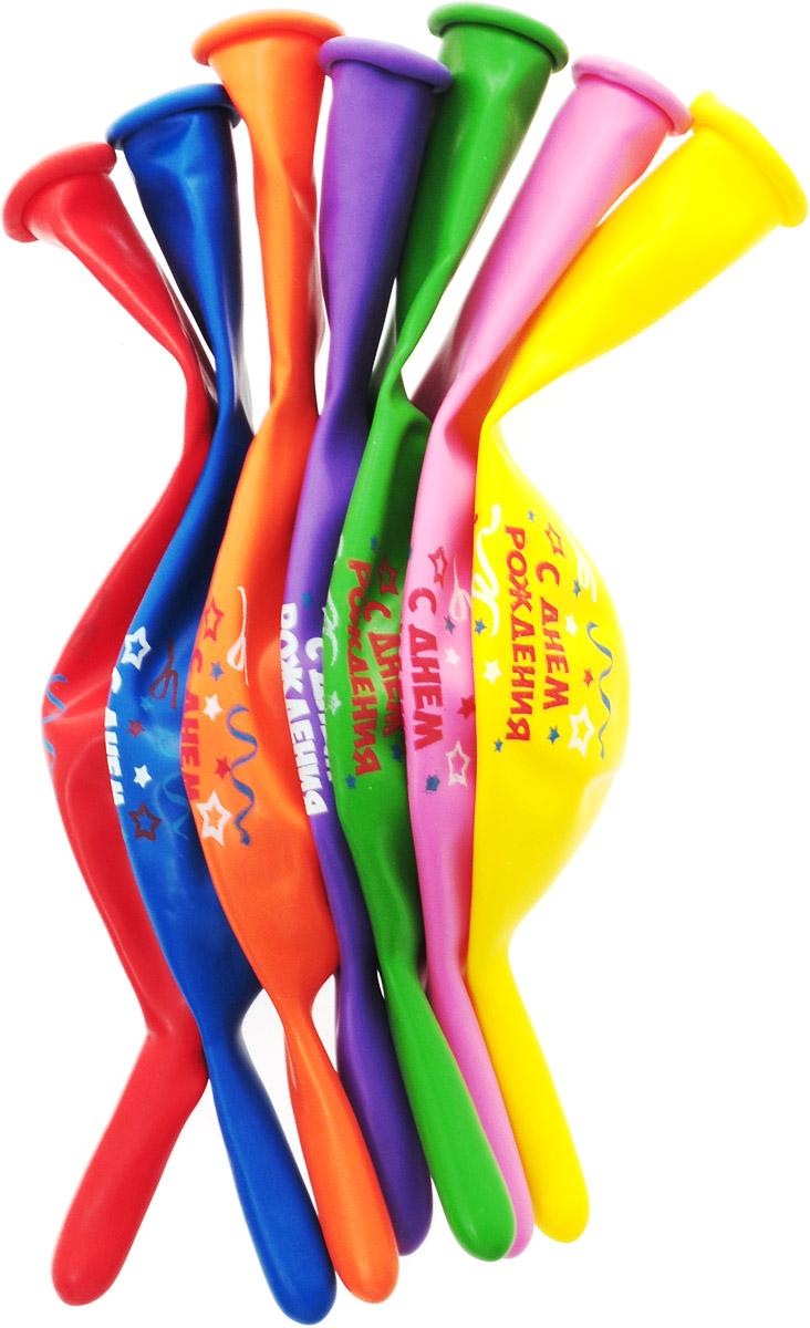 Веселая затея Набор воздушных шариков Гирлянда С днем рождения 7 шт -  Воздушные шарики