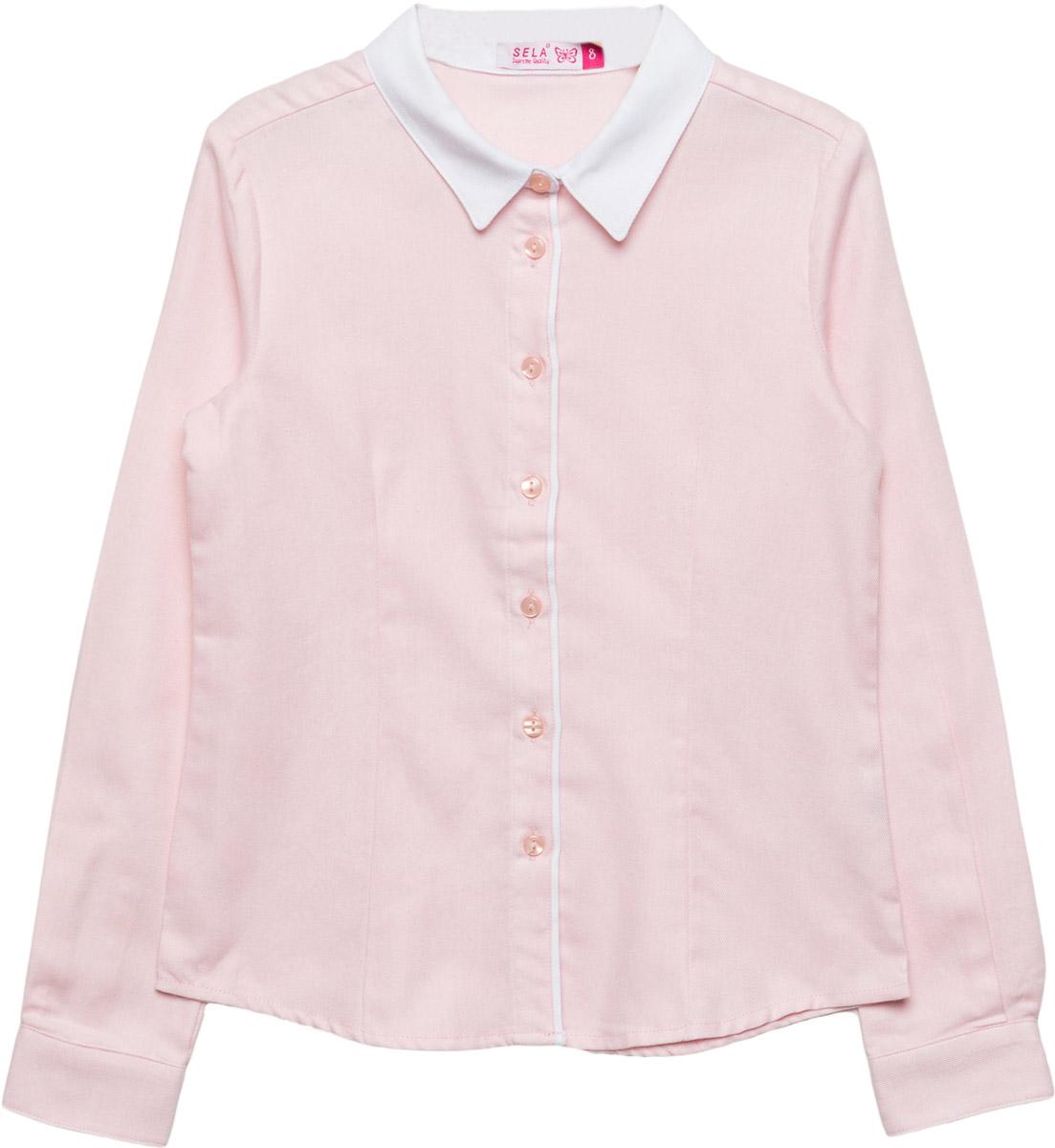 Блузка для девочки Sela, цвет: розовый. B-612/860-7320. Размер 134, 9 летB-612/860-7320Классическая блузка Sela для девочки выполнена из высококачественного материала. Модель с отложным воротником и длинными рукавами застегивается на пуговицы.