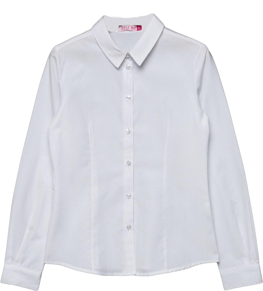 Блузка для девочки Sela, цвет: белый. B-612/866-7320. Размер 122, 7 летB-612/866-7320Классическая блузка Sela выполнена из высококачественного материала. Модель приталенного силуэта с длинными рукавами застегивается на пуговицы. Манжеты застегиваются на пуговицы.