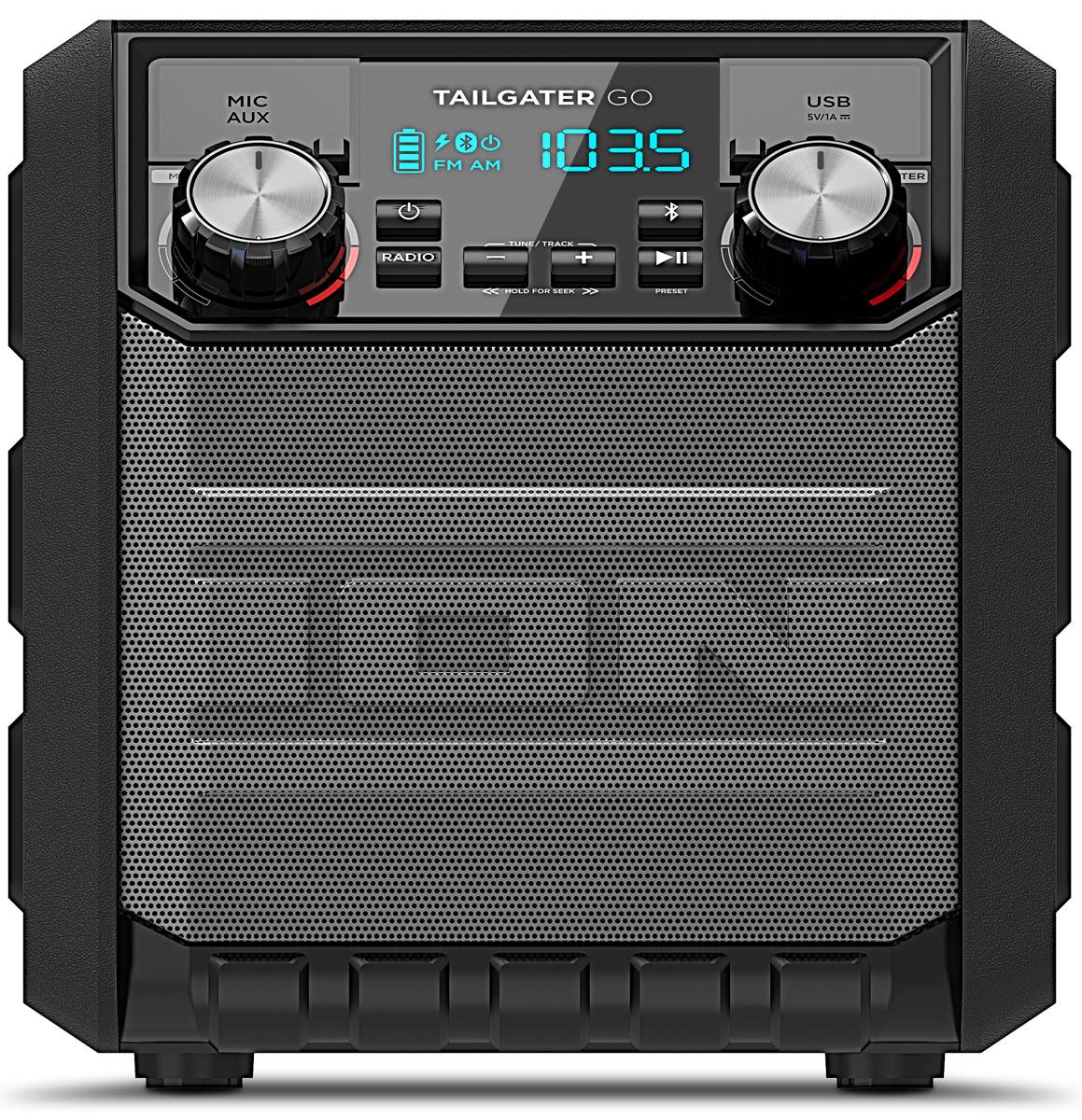 ION Audio Tailgater Go, Black портативная акустическая системаIONtgoION Audio Tailgater GO - компактная переносная звуковая система с повышенным классом влагозащищенности. Tailgater GO принимает Bluetooth-сигнал от смартфонов или планшетов, работающих на Android и iOS. Обладает серьезными многочасовыми аккумуляторами и предназначена для использования на открытом воздухе.Новейшая аудио-система ION Audio Tailgater GO (дословный перевод – не соблюдающая дистанцию) с безупречным звучанием имеет FM/AM радио с памятью на 10 радиостанций, мощные динамики, аккумуляторы на 30 часов автономной работы и USB-розетку для зарядки смартфона. Самочувствие системы можно отслеживать на улучшенном светодиодном дисплее. Вы можете отойти от системы со своим смартфоном на расстояние до 30 м – она будет работать четко и без помех.Тип динамиков: 1 tweeter, 4 wooferNFC-панельAM/FM радиоприемникПамять на 10 радиостанций