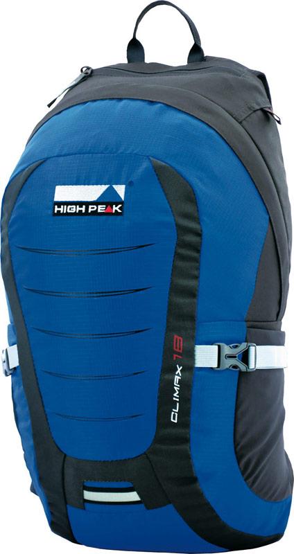 Рюкзак туристический High Peak Climax, цвет: синий, 18 л30123Рюкзак туристический подойдет как для города, так и для спорта, Модель имеет систему вентиляции спины и плотные плечевые ремни с наполнителем из перфорированного вспененного материала. Состоит рюкзак из большого отделения и эластичных боковых карманов. Отделение закрывается на застежку-молнию. Также рюкзак имеет нагрудный и поясной ремни, компрессионные стропы, отделение для питьевой системы. Оснащен светоотражающим креплением для мигающего маячка.
