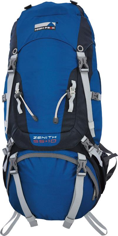 Рюкзак туристический High Peak Zenith, цвет: синий, 75 + 10 л31126Гениальный большой рюкзак для поездок за границу и походов получил оценку «отлично» от журнала Outdoor Magazin. Наш Zenith с лёгкостью переносит даже самые тяжелые грузы. Передний вход в основное отделение при помощи молнии U-формы облегчает доступ к вещам, сложенным глубоко внутри рюкзака. С помощью транспортного чехла, поставляемого в комплекте, рюкзак легко защитить от грязи при перелетах и железнодорожных перевозках. Преимущества и особенности Эргономичная система спины рюкзака Vario регулируется по длине Плотные боковые вставки для хорошего проветривания и распределения давления Алюминиевые стержни жесткости Плечевые ремни особой формы с наполнителем из высококачественного вспененного материала для хорошего распределения нагрузки Ремни, регулирующие распределение веса Грудная стяжка Регулируемая по высоте крышка рюкзака Внешний и внутренний карманы в крышке рюкзака Двойной поясной ремень наполнен вспененным материалом высокой плотности Карманы на молнии на поясном ремне Внешние карманы сложены по принципу кузнечного меха, при наполнении могут расширяться Сетчатые карманы Нижнее отделение со съемной перегородкой Утягивающие стропы Петли для крепления дополнительного оборудования на крышке рюкзака Крепление для трекинговых палок или ледоруба Отделение для питьевой системы Дождевой чехол так же может использоваться как транспортная сумка