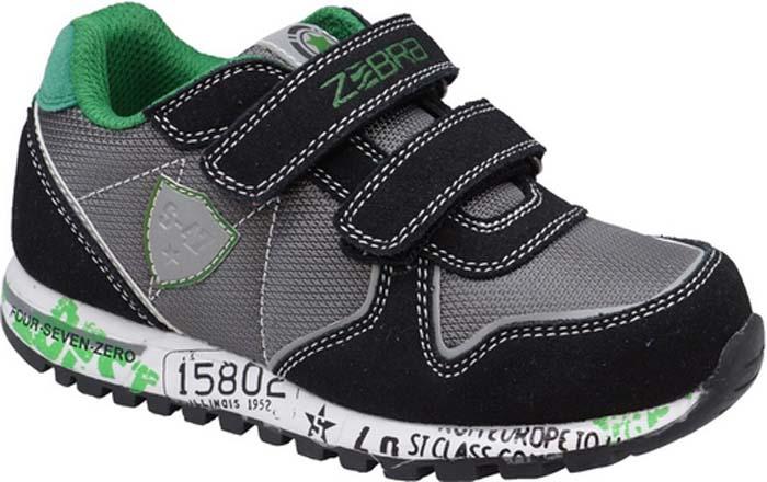Кроссовки для мальчика Зебра, цвет: черный, серый. 11915-1. Размер 2711915-1Кроссовки от фирмы Зебра выполнены из дышащего текстиля и искусственной кожи и оформлены контрастной прострочкой. Застежки-липучки обеспечивают надежную фиксацию обуви на ноге ребенка. Подкладка выполнена из текстиля, что предотвращает натирание и гарантирует уют. Стелька с поверхностью из натуральной кожи оснащена небольшим супинатором с перфорацией, который обеспечивает правильное положение ноги ребенка при ходьбе и предотвращает плоскостопие. Подошва с рифлением обеспечивает идеальное сцепление с любыми поверхностями.