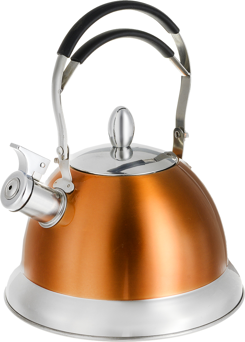 Чайник Mayer & Boch, со свистком, цвет: оранжевый, 3 л. 2320423204_оранжевыйЧайник Mayer & Boch выполнен из высококачественной нержавеющей стали, что делает его гигиеничным и устойчивым к износу при длительном использовании. Носик чайника оснащен откидным свистком, который громко оповестит о закипании воды. Подвижная ненагревающаяся ручка с силиконовой накладкой дает дополнительное удобство при использовании. Поверхность чайника гладкая, что облегчает уход за ним. Эстетичный и функциональный, с эксклюзивным дизайном, такой чайник будет оригинально смотреться в любом интерьере.Подходит для газовых, электрических, стеклокерамических, галогеновых, индукционных плит. Можно мыть в посудомоечной машине.Высота чайника (без учета ручки и крышки): 13 см.Диаметр чайника (по верхнему краю): 10 см.