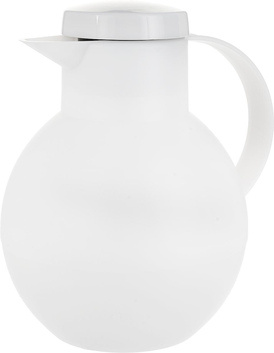 Термос-чайник Emsa Solera, цвет: белый, 1 л509154Термос-чайник Emsa Solera позволит насладиться вашим любимым напитком, где бы вы ни были. Благодаря стеклянной колбе напиток долгое время сохраняет свою температуру: остается горячим 12 часов, а холодным - 24 часа. Корпус выполнен из прочного пластика. Внутри предусмотрено специальное съемное ситечко для заварки, которое вставляется прямо в горлышко. Крышка плотно и герметично закрывается, а удобная ручка гарантирует безопасность во время использования. Специальный носик обеспечивает удобный разлив напитка по порциям. Такой термос идеален для перерыва на чай или кофе. Высота термоса: 22 см. Высота ситечка: 13 см. Диаметр (по верхнему краю): 8 см.
