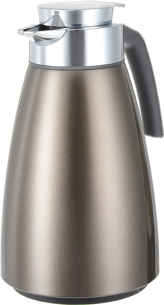 """Удобный термос-чайник Emsa """"Bell"""" станет незаменимым аксессуаром в поездках, выездах на  природу, дачу, рыбалку или пикник. Корпус изделия выполнен из высококачественной  нержавеющей стали и ABS пластика, а колба - из стекла. На крышке изделия имеется кнопка, с  помощью которой вы сможете легко открыть герметичный клапан, а удобные носик и ручка  позволят аккуратно разлить содержимое по стаканам.  Время удержания тепла: 12 ч. Время удержания холода: 24 ч. Диаметр по верхнему краю: 6,5 см. Высота (с учетом крышки): 28 см."""