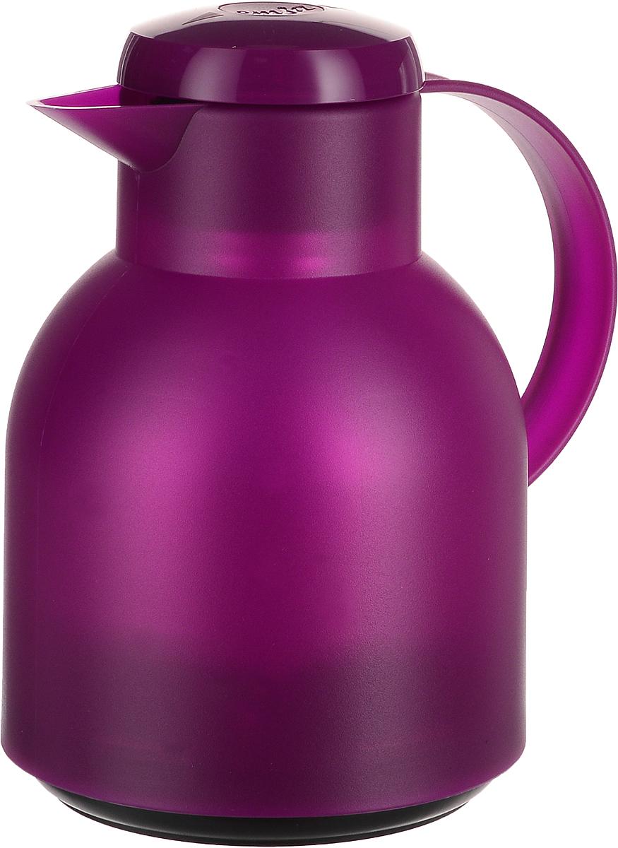 Термос-чайник Emsa Samba, цвет: фуксия, 1 л507075Термос-чайник Emsa Samba позволит насладиться вашим любимым напитком, сохранив его аромат и вкус. Благодаря стеклянной колбе напиток остается горячим 12 часов, а холодным - 24 часа. Корпус выполнен из прочного пластика. Крышка плотно и герметично закрывается, а удобная ручка гарантирует безопасность во время использования. Чтобы налить напиток, крышку не нужно откручивать каждый раз, она снабжена специальным клапаном, поэтому легко открывается одним нажатием кнопки. Специальный носик обеспечивает удобный разлив напитка по порциям. Такой термос идеален для перерыва на чай или кофе. Высота термоса: 21,5 см. Диаметр (по верхнему краю): 8 см.