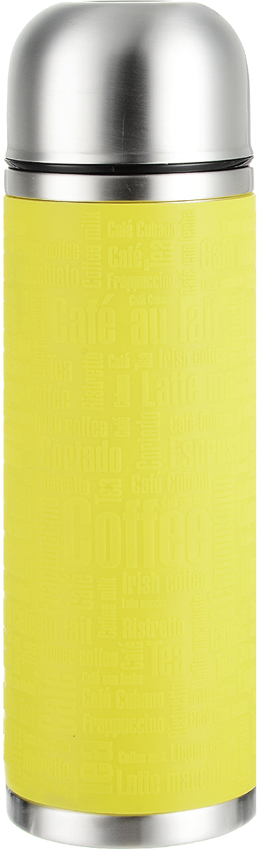 Термос Emsa Senator Sleeve, цвет: желтый, стальной, 1 л516870Термос Emsa Senator Sleeve имеет прочный корпус из нержавеющей стали. Внешние стенки дополнены силиконовой накладкой с рельефными надписями. Модель снабжена герметичной пластиковой пробкой, которая предотвращает выливание содержимого. Крышка с внутренним пластиковым покрытием удобно завинчивается и может послужить в качестве чашки для напитков. Термос сохраняет напиток горячим 12 часов, холодным - 24 часа. Диаметр горлышка: 4,5 см. Диаметр основания: 9 см. Высота термоса: 30 см.