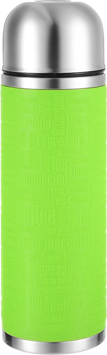 Термос Emsa Senator Sleeve, цвет: лайм, стальной, 1 л516869Термос Emsa Senator Sleeve имеет прочный корпус из нержавеющей стали. Внешние стенки дополнены силиконовой накладкой с рельефными надписями. Модель снабжена герметичной пластиковой пробкой, которая предотвращает выливание содержимого. Крышка с внутренним пластиковым покрытием удобно завинчивается и может послужить в качестве чашки для напитков. Термос сохраняет напиток горячим 12 часов, холодным - 24 часа. Диаметр горлышка: 4,5 см. Диаметр основания: 9 см. Высота термоса: 30 см.