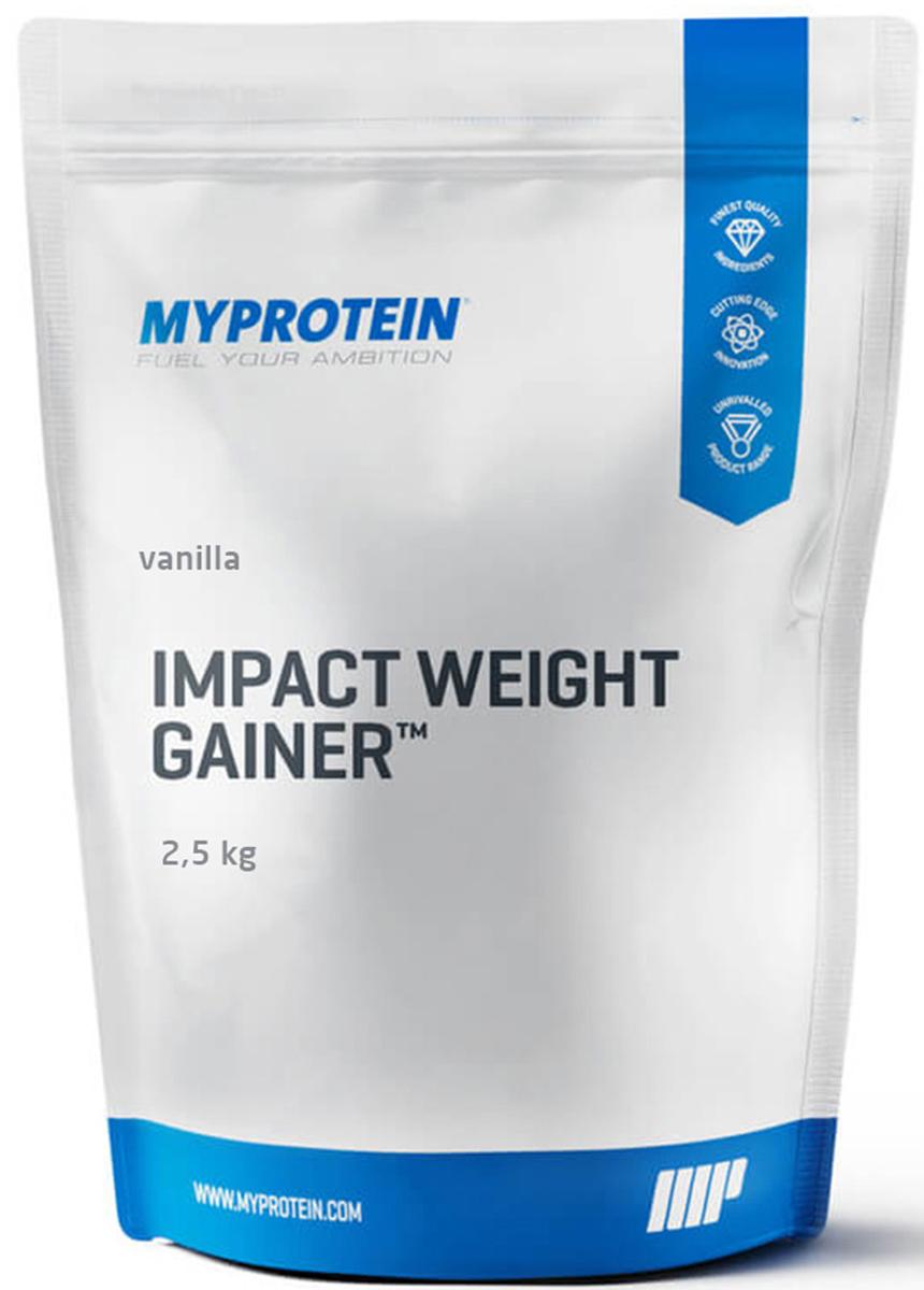 Гейнер Myprotein Impact Weight Gainer V2, ваниль, 2,5 кгЯБ019505Гейнер Myprotein Impact Weight Gainer V2 содержит более 380 калорий на порцию в 100г и является идеальной углеводно-белковой добавкой для всех, кому нужно увеличить ежедневную калорийность рациона, для увеличения массы тела. Данная смесь сочетает в себе шотландский овёс ультра тонкого помола и активированный пророщенный ячмень. Качественная белковая матрица включает в себя изолят сывороточного белка и концентрат молочного белка. Благодаря тому, что данная смесь включает в себя как быстро, так и медленно усваиваемый белок, Impact Weight Gainer идеально подходит для приёма сразу после тренировки или для употребления в течение дня.Преимущества: В 1 порции данной смеси содержится более 27г белка, который поможет росту и поддержанию качественной сухой мышечной массы, а также более 300 калорий. Только долгие углеводы! В отличие от других гейнеров, Impact Weight Gainer не содержит ни сахарного сиропа, ни мальтодекстрина. Только долгие углеводы, которые обеспечивают Вас энергией на протяжении длительного времени.Рекомендации по применению: Выпивайте одну порцию между приемами пищи и одну после тренировки. В дни отдыха выпивайте 1-2 порции между приемами пищи. Рекомендации по приготовлению: Добавьте 250-300мл воды или молока в шейкер (чем меньше жидкости, тем более густым будет ваш коктейль). Потом добавьте 2,5 мерных ложки ложки продукта (100г), смешайте и выпейте.Как повысить эффективность тренировок с помощью спортивного питания? Статья OZON Гид