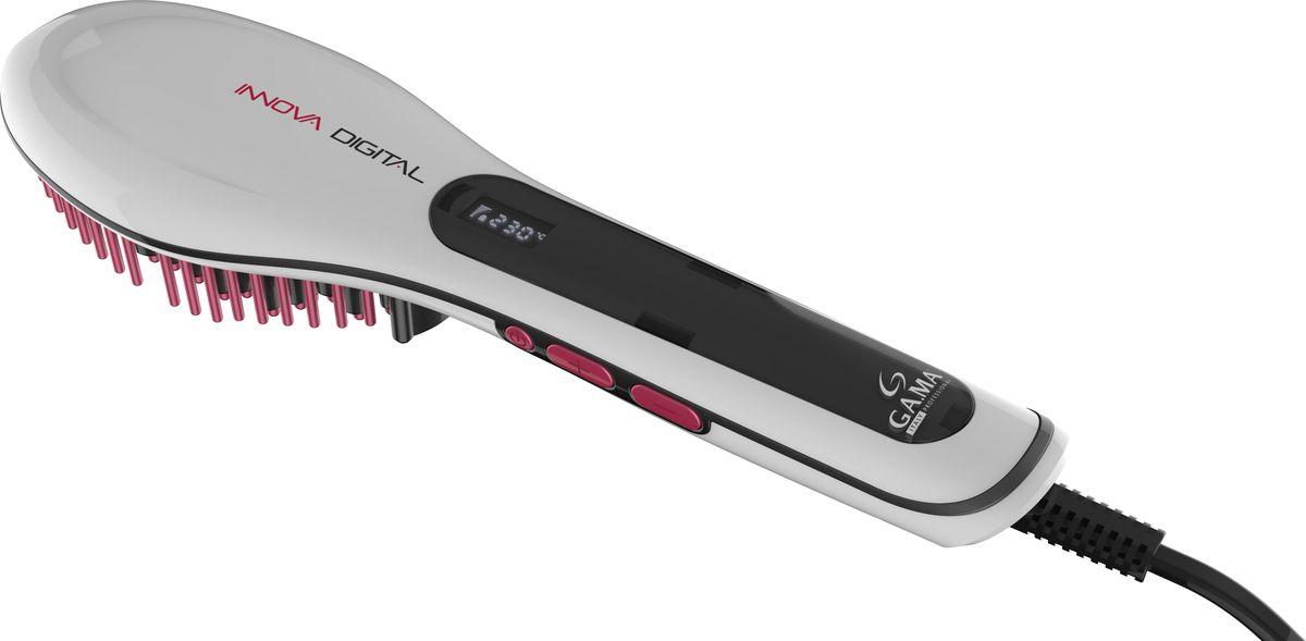 GA.MA Innova Digital расческа-выпрямитель для волосGB0101Простое и быстрое выпрямление при расчесывании!С помощью расчески-выпрямителя GA.MA Innova Digital вы сможете быстро и просто расчесывать волосы и придавать им форму. Рабочая температура настраивается в диапазоне от 130°C до 230°C. Максимальной температуры прибор достигает ее всего за несколько секунд.Керамическая технология обеспечивает максимально бережное воздействие на волосы, а технология Nano Silver устраняет бактерии с волос: таким образом, они остаются чистыми и здоровыми. Термические щетинки гарантируют превосходную теплоотдачу, а вращающийся на 360° шнур обеспечивает максимальную свободу движений.Кроме этого, прибор оснащен системой автоотключения через 60 минут работы для еще большей безопасности, а также функцией блокировки кнопок, которая защищает от случайной смены настроек во время работы.