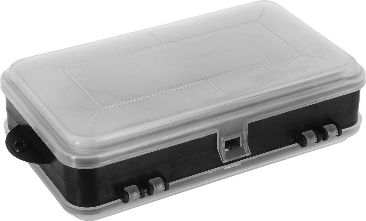 Ящик для крепежа FIT, двухстороннийсторонний, 17,5 х 10,6 х 4,6 см65645_черныйДвусторонний ящик-органайзер FIT выполнен в форме кейса, служит для хранения и переноски крепежных изделий. Имеет 8 отделений с одной стороны и 5 с другой, где удобно размещаются необходимые аксессуары и различные мелочи. Прозрачная крышка позволяет видеть расположение крепежа внутри. Две пластиковые защелки надежно защищают чемоданчик от непреднамеренного открывания.Размеры: 17,5 х 10,6 х 4,6 см.