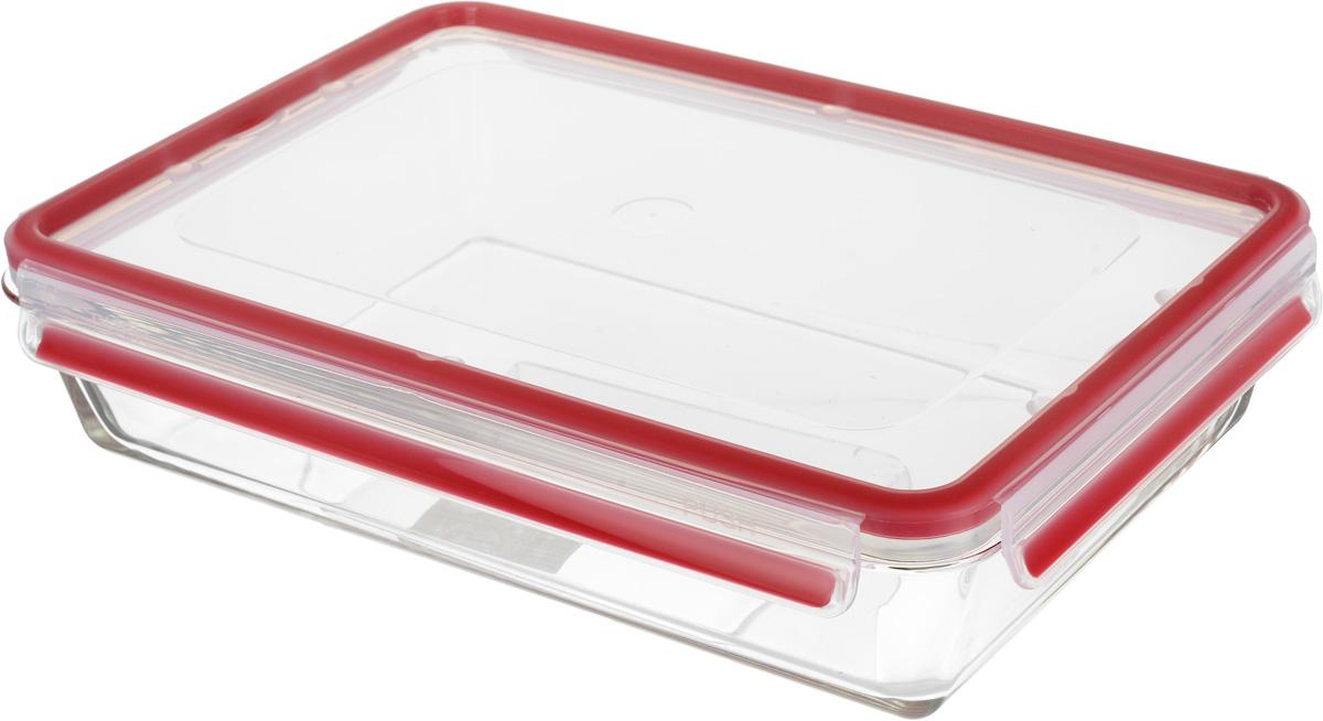 Контейнер Emsa Clip&Close, цвет: красный, прозрачный, 3 л513922Контейнер для хранения продуктов Emsa Clip&Close является превосходным решением: он не только на 100% подходит для использования в духовке, но и для заморозки, а также для приготовления и разогревания пищи в микроволновке. Изделие оснащено герметичной крышкой на защелках, поэтому изделие также подходит для хранения жидкостей.При хранении или перевозке еды герметичность, гигиеничность и длительное сохранение свежести продуктов гарантированы на 100%. Перекладывать в сервировочную посуду больше не нужно: симпатичную стеклянную чашу можно смело ставить на стол. Кроме того, контейнер подходит для хранения детской пищи. Можно использовать в духовке при температуре до +420°С, для разогрева в микроволновой печи при температуре до +110°С, для заморозки при температуре до -40°С. Размеры (с учетом крышки): 33 х 23 х 7 см.