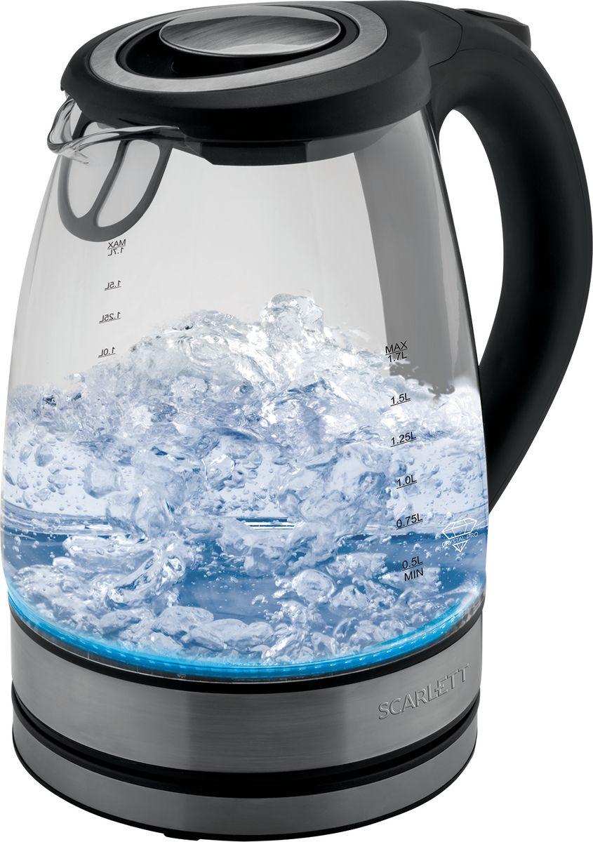 Scarlett SC-EK27G21, Black электрический чайникSC-EK27G21Электрический чайник Scarlett SC-EK27G21 станет отличным дополнением к набору вашей бытовой техники для кухни. Среди преимуществ данного чайника можно отметить двустороннюю шкалу уровня воды и беспроводное питание.Корпус чайника выполнен из высококачественного термостойкого стекла Crystal Pro. Чайник оснащен многоуровневой защитой: автоматическое отключение при закипании, отключение при недостаточном количестве воды.