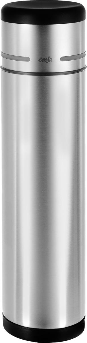 Термос Emsa Mobility, цвет: черный, стальной, 1 л318528Простая и гармоничная форма термоса Emsa Mobility, выполненного из стали, удовлетворит желания любого потребителя. Корпус сделан из нержавеющей стали. В этом термосе применена система высококачественной вакуумной изоляции. Термос имеет самый популярный и необходимый объем в 1 литр. Термос помогает сохранять температуру напитка в течение 12 часов для горячих температур и 24 часа для холодных.Высота (с учетом крышки): 32,5 см.Диаметр: 4,5 см.