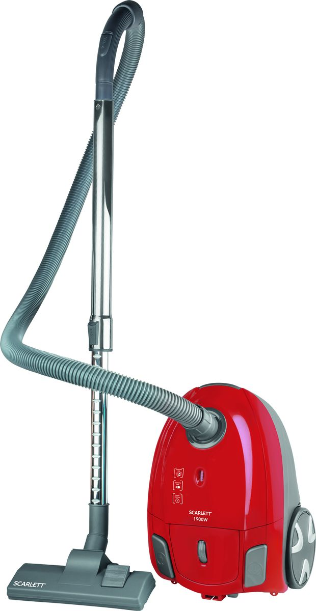 Scarlett SC-VC80B95, Red пылесосSC-VC80B95Scarlett SC-VC80B95 яркий, современный, технологичный пылесос с системой очистки «мультициклон», набором насадок для разных поверхностей поможет сделать Ваш дом идеально чистым и комфортным.Система очистки «MultiCyclone»Система очистки «MultiCyclone» создает в пылесосе поток воздуха, который разбивается на несколько потоков, за счет сепараторов (циклонов). В циклонах поток воздуха очищается от пыли благодаря центробежной силе. Такая система очищает от пыли очень тщательно, не позволяя даже мельчайшим частицам попадать обратно в воздух. Благодаря этому, данный пылесос хорошо подходит потребителям страдающим аллергией. Система очистки «MultiCyclone» работает без потери мощности, тем самым не теряя силу всасывания на протяжении всей уборки, это позволяет очищать поверхности еще эффективнее и быстрее.Контейнер для сбора пылиПылесос работает без мешков для сбора пыли. Вся пыль оседает в контейнере благодаря вихревой системе очистки. Контейнер для сбора пыли открывается одним нажатием кнопки и его можно промывать водой, что делает уборку в несколько раз проще, удобнее и гигиеничнее. Вместимость контейнера составляет 2 литра, что позволяет очищать большие помещения без промежуточной чистки контейнера.ФильтрФильтр – легко моется и рассчитан на весь срок службы прибора, что позволяет сэкономить бюджет и не тратить много времени на очистку. Фильтр удаляет до 99.9% пыли, чем обеспечивает чистоту воздуха в Вашем доме. НасадкиКомбинированная насадка «пол/ковер», насадка для мебели и щелевая насадка позволяют провести уборку даже в труднодоступных местах. Кнопки управленияУдобные кнопки включения/выключения прибора позволяют легко управлять пылесосом даже ногой. Функция автосматывания шнура позволяет легко управлять как регулировкой нужной длины шнура, так и процессом уборки в целом. РучкаДля удобства переноски на корпусе пылесоса предусмотрена ручка. Стальная телескопическая трубкаТрубка пылесоса имеет облегченную контрукцию, и может скл