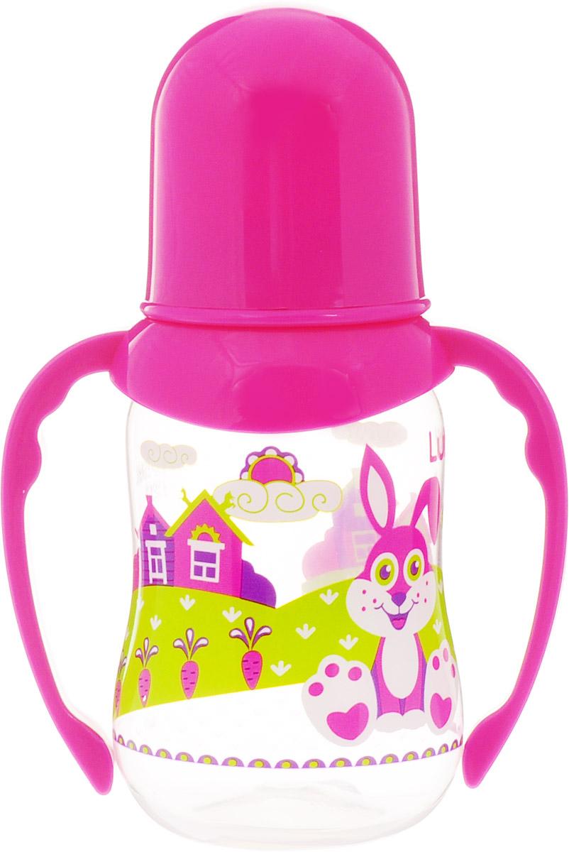 Lubby Бутылочка для кормления Русские мотивы с ручками от 0 месяцев цвет розовый 120 мл