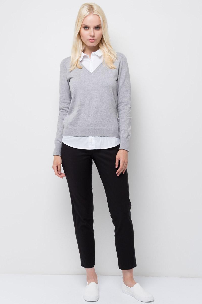 Джемпер женский Sela, цвет: серый меланж. JR-114/1239-7370. Размер S (44) жакет женский sela цвет темно синий jtk 116 448 6171 размер s 44