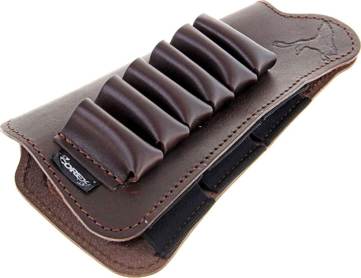Патронташ на приклад, на 6 патронов, 12-16 к1078452Патронташ на приклад используется для ношения на прикладе охотничьего ружья. Он имеет 6 карманов для патронов 12-16 калибра.