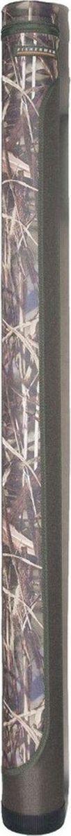 Тубус для спиннинга Fisherman, 110 х 160 см. Ф2941984526Простой, но проверенный временем двухцветный тубус Fisherman для 3-5 спиннинговых удилищ. Имеет простую удобную форму и регулируемый по длине отстёгивающийся ремень для переноски. Дно тубуса защищено толстым пластиковым стаканом.Диаметр: 11 см.Высота: 160/165 см (внутренняя/наружная).