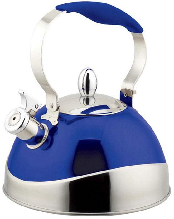 Чайник Teco, со свистком, цвет: серый, синий, 3 л. TC-107-BTC-107-BЧайник со свистком Teco - выполнен из долговечной и прочной стали, которая не окисляется и устойчива к коррозии. Объем чайника составляет 3 литра, оснащен свистком, благодаря которому вы можете не беспокоиться о том, что закипевшая вода зальет плиту. Как только вода закипит - свисток оповестит вас об этом. Капсулированное дно с прослойкой из алюминия обеспечивает наилучшее распределение тепла. Ручка чайника имеет силиконовое покрытие которое убережет руки от ожогов. Удобный и практичный чайник отлично впишется в интерьер любой кухни.Подходит для использования на всех типах плит.Можно мыть в посудомоечной машине.