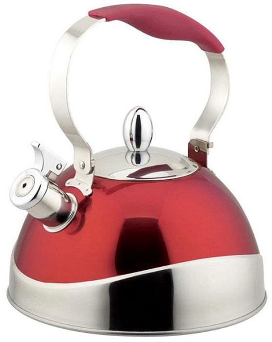 Чайник Teco, со свистком, цвет: серый, красный, 3 л. TC-107-R чайник teco со свистком 3 л tc 107 r