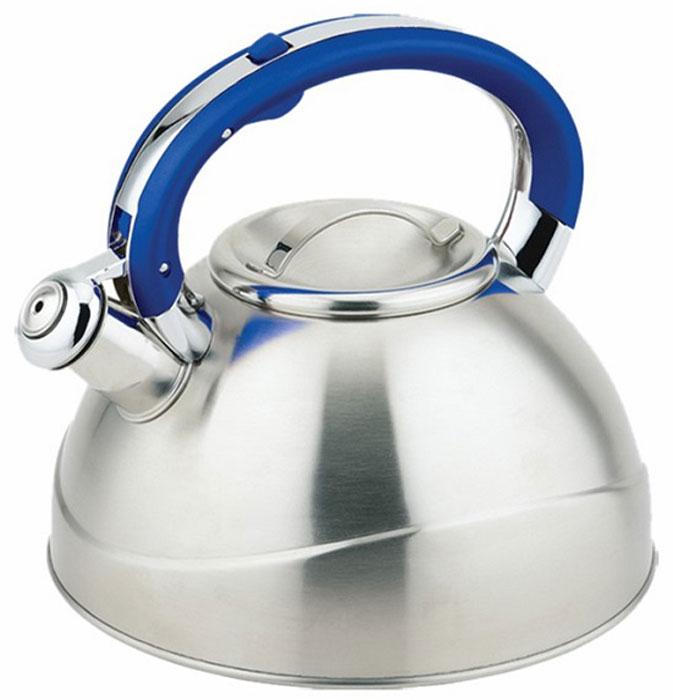 Чайник Teco, со свистком, цвет: синий, серый, 3 л. TC-109-BTC-109-BЧайник со свистком Tecoизготовлен из высококачественной нержавеющей стали, что обеспечивает долговечность использования. Капсульное дно обеспечивает равномерный и быстрый нагрев, поэтому вода закипает гораздо быстрее, чем в обычных чайниках. Носик чайника оснащен откидным свистком, звуковой сигнал которого подскажет, когда закипит вода. Свисток открывается нажатием кнопки на ручке, сделанной из бакелита.Чайник Teco - качественное исполнение и стильное решение для вашей кухни. Подходит для всех типов плит, включая индукционные. Можно мыть в посудомоечной машине. Высота чайника (без учета ручки и крышки): 12,5 см.Высота чайника (с учетом ручки и крышки): 21 см.Диаметр чайника (по верхнему краю): 10 см.