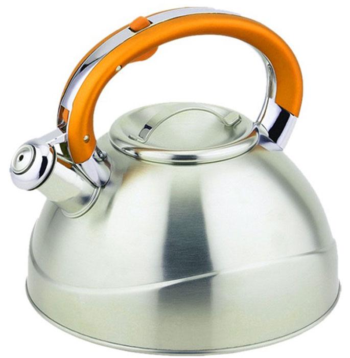 Чайник Teco, со свистком, цвет: оранжевый, серый, 3 л. TC-109-YTC-109-YЧайник со свистком Tecoизготовлен из высококачественной нержавеющей стали, что обеспечивает долговечность использования. Капсульное дно обеспечивает равномерный и быстрый нагрев, поэтому вода закипает гораздо быстрее, чем в обычных чайниках. Носик чайника оснащен откидным свистком, звуковой сигнал которого подскажет, когда закипит вода. Свисток открывается нажатием кнопки на ручке, сделанной из бакелита.Чайник Teco - качественное исполнение и стильное решение для вашей кухни. Подходит для всех типов плит, включая индукционные. Можно мыть в посудомоечной машине. Высота чайника (без учета ручки и крышки): 12,5 см.Высота чайника (с учетом ручки и крышки): 21 см.Диаметр чайника (по верхнему краю): 10 см.