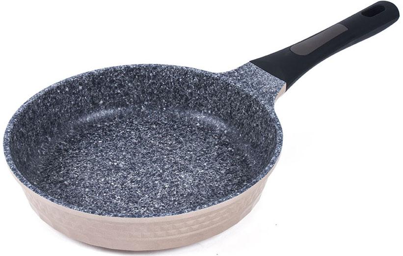 Сковорода Endever, с антипригарным покрытием, цвет: бежевый, черный. Диаметр 26 смAquarelle-262Сковорода Endever выполнена из литого алюминия с антипригарным покрытием особой прочности и мраморной крошкой. Такое покрытие жаропрочное, защищает сковороду от царапин, экологически чистое и полностью безопасное, без вредных соединений и примесей. Благодаря высокой теплопроводности алюминия, посуда распределяет тепло по всей поверхности, экономя время и энергию. Эргономичная ручка из бакелита не нагревается и не скользит.Подходит для всех типов плит, включая индукционные. Можно мыть в посудомоечной машине. Диаметр сковороды по верхнему краю: 26 см.Высота стенки: 5,5 см.