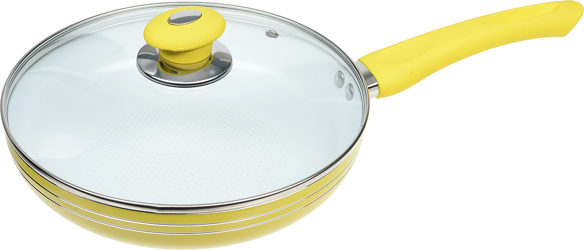 Сковорода Bohmann с крышкой, с керамическим покрытием, цвет: желтый. Диаметр 24 см. 6224WCRBH6224WCRBH_желтыйСковорода Bohmann изготовлена из прочного алюминия с внутренним керамическим покрытием, которое обладает высокой прочностью. Кроме того, с таким покрытием пища не пригорает и не прилипает к стенкам. Готовить можно с минимальным количеством масла. Сковорода быстро разогревается, распределяя тепло по всей поверхности, что позволяет готовить в энергосберегающем режиме, значительно сокращая время, проведенное у плиты. Сковорода оснащена удобной пластиковой ручкой с силиконовым покрытием. Она не нагревается в процессе готовки и обеспечивает надежный хват. Крышка изготовлена из жаропрочного стекла, оснащена ручкой, отверстием для выхода пара и металлическим ободом. Благодаря такой крышке можно следить за приготовлением пищи без потери тепла. Подходит для газовых, электрических, стеклокерамических, галогеновых, индукционных плит. Можно мыть в посудомоечной машине.Диаметр сковороды (по верхнему краю): 24 см.Высота стенки: 5 см.Длина ручки: 19 см.Диаметр индукционного дна: 15 см.