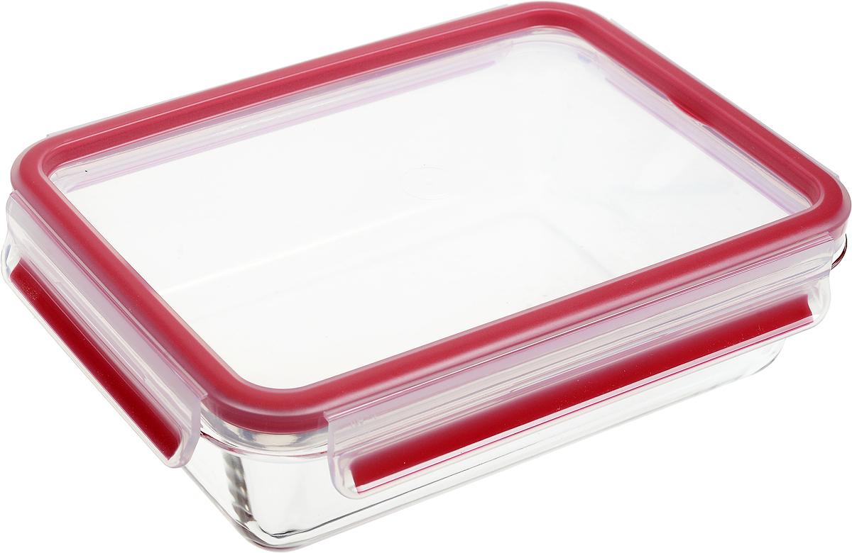 Контейнер прямоугольный Emsa Clip&Close Glas, цвет: красный, прозрачный, 1,3 л контейнер прямоугольный emsa clip