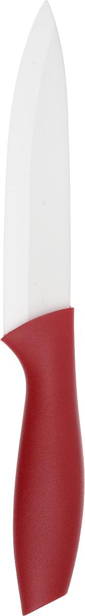 Нож керамический Доляна Мастер, цвет: красный, белый, длина лезвия 12 см833162-красныйНож керамический Доляна Мастер удобен и легок в использовании. Острое лезвие, выполненное из керамики, не подвергается коррозии и появлению ржавчины, долгое время не требует заточки. Оно устойчиво к появлению царапин, сохраняет свежий вкус пищи, не оставляет неприятного послевкусия, не впитывает запахи продуктов. Самые тонкие ломтики не прилипнут к лезвию во время нарезки. Рукоятка выполнена из пластика. Нож обладает высокими гигиеническими показателями. Длина ножа: 24 см.