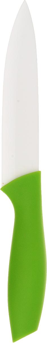 Нож керамический Доляна Мастер, цвет: зеленый, белый, длина лезвия 12 см833162-зеленыйНож керамический Доляна Мастер удобен и легок в использовании. Острое лезвие, выполненное из керамики, не подвергается коррозии и появлению ржавчины, долгое время не требует заточки. Оно устойчиво к появлению царапин, сохраняет свежий вкус пищи, не оставляет неприятного послевкусия, не впитывает запахи продуктов. Самые тонкие ломтики не прилипнут к лезвию во время нарезки. Рукоятка выполнена из пластика. Нож обладает высокими гигиеническими показателями. Длина ножа: 24 см.