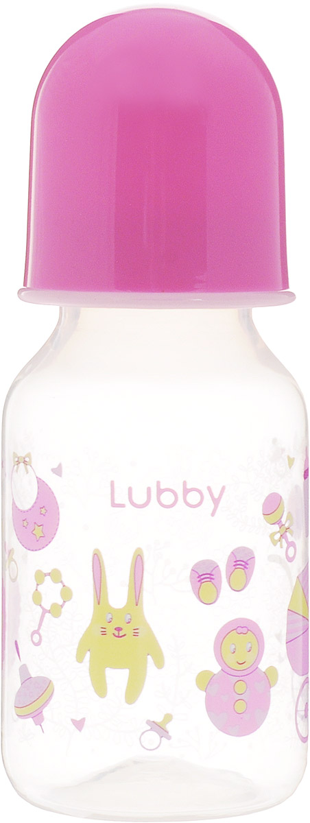Lubby Бутылочка для кормления Малыши и Малышки от 0 месяцев цвет розовый 125 мл