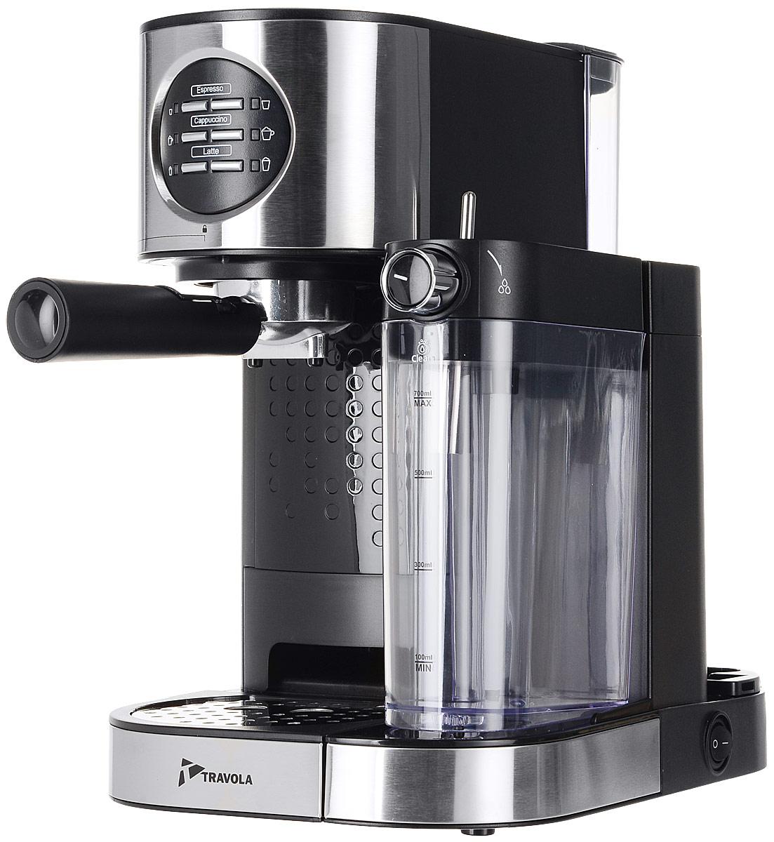 Travola CM5009-GS кофеваркаCM5009-GSКофеварка Travola CM5009 поможет приготовить чашку превосходного эспрессо из свежемолотого кофе. Прибор обладает возможностью приготовления различных типов кофейных напитков - эспрессо, капучино, или латте. Принцип действия кофеварки Travola CM5009-GS основан на пропускании горячей воды под давлением в несколько атмосфер через слой молотого кофе. Это позволяет быстро и полно экстрагировать из кофейной заварки все полезные вещества и получить отличный кофе с пенкой. Готовый кофе наливается в подставленную чашку.Поддон для сбора капельМожно дозировать вспенивание молока Резервуар для молока объемом 700 млПобедитель номинации Лучшая собственная торговая марка в сегменте ONLINE.Премия PRIVATE LABEL AWARDS (by IPLS) -международная премия в области собственных торговых марок, созданная компанией Reed Exhibitions в рамках выставки Собственная Торговая Марка (IPLS) 2016 с целью поощрения розничных сетей, а также производителей продовольственных и непродовольственных товаров за их вклад в развитие качественных товаров private label, которые способствуют росту уровня покупательского доверия в России и СНГ.Как выбрать кофеварку. Статья OZON Гид