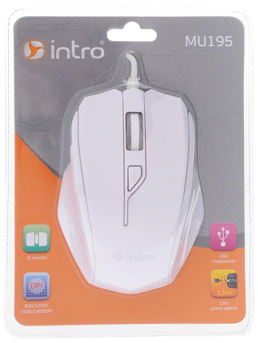 Intro MU195, White мышь мышь проводная intro mu104 gray