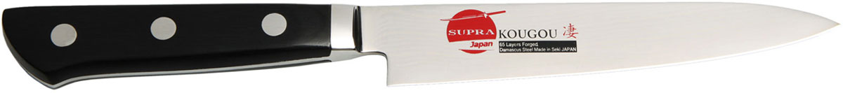 Нож кухонный Supra, длина лезвия 13,5 смSK-DK13PНож кухонный поварской овощной PARING из японской нержавеющей стали с обкладками из дамаска (67 слоев) , длина лезвия 135 мм. Материал рукояти: берёза. Заточка: двусторонняя