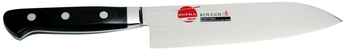 Нож кухонный Supra, длина лезвия 17 смSK-DK17StВ японских кухонных ножах отлично сочетаются современные технологии и геометрия клинка проверенная временем. Эта модель относится именно к таким ножам. Центральная часть клинка изготовлена из нержавеющей стали.В качестве обкладок использована многослойная дамасская сталь. Такой бутерброд обладает отличным и точным резом, а также удивительно долго держит заточку. Для того чтобы поправит такой нож рекомендуется использовать алмазный или керамический мусат, именно они помогут выполнить идеальную заточку.