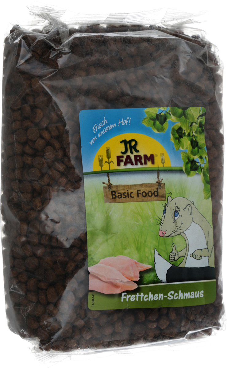 Корм для хорьков JR Farm Classic, 750 г37438Смесь JR Farm Classic разработана специально для хорьков. Она содержит питательные вещества, витамины и микроэлементы, необходимые для полноценного рациона вашего питомца.Рекомендации по кормлению: просто пополняйте кормушку, когда она становится пустой. Пожалуйста, давайте животному такое количество еды, которое он съедает в течение 24 часов. Состав: кукуруза, мясо домашней птицы 13,5%, шкварки, рисовая мука, жир домашней птицы, говяжий жир, лососевая мука 4%, кормовая мука из кролика, гидролизированный ливер, гемоглобин, меласса, высушенный ливер, яблочная кожура, яичный порошок, хлорид натрия, сухие дрожжи, хлорид калия, ферментированный ячмень, морские водоросли, льняное семя, смесь трав.Основной анализ: протеин 34,0%, жиры 18,0%, клетчатка 2,5%, зола 6,5%.Содержание витаминов на кг: витамин А 25000 МЕ, витамин D 2000 МЕ, витамин Е 120 мг, витамин В1 6 мг, витамин В2 6 мг, витамин В6 5 мг, биотин 1000 мкг, витамин В12 100 мг.Товар сертифицирован.