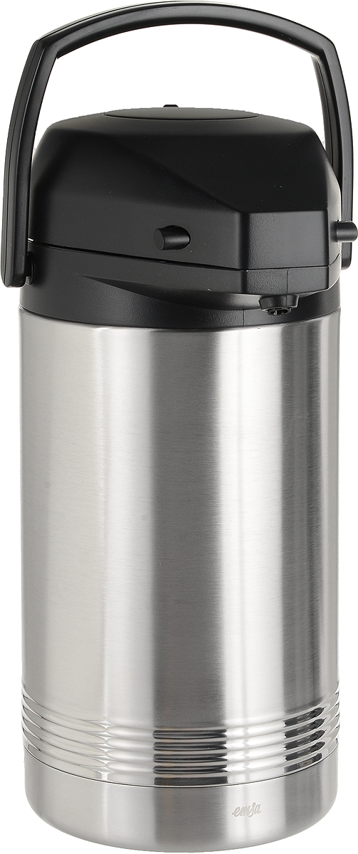 """Термос Emsa """"President"""", изготовленный из  высококачественной пищевой нержавеющей стали, снабжен  системой помповой накачки жидкости, что  позволяет легко наливать напитки, не отрывая изделие от  стола. Термос абсолютно герметичен. Он позволяет  сохранять температуру и аромат напитка длительное время.  Для удобной переноски предусмотрена пластиковая  подвижная ручка. В крышку термоса встроена специальная  платформа с каплесборником, на которую можно поставить  чашку. Высота платформы регулируется.  Диаметр основания термоса: 15,5 см.  Высота термоса: 35,5 см. Сохранение холода: 24 ч.  Сохранение тепла: 12 ч."""
