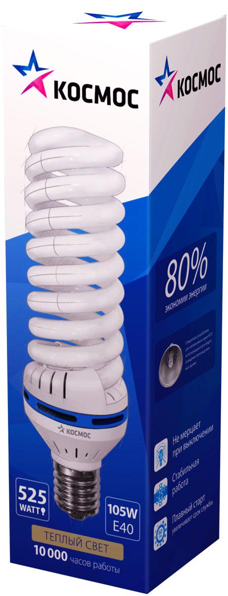 Лампа энергосберегающая Космос, цоколь E40, 105W, 4200КLKsmT5SPC105WE4042_mЭнергосберегающая лампа КОСМОС 105Вт, Е40, совместима со светильниками типа НСП-17 открытого типа. Мощные лампы для хозяйственного и промышленного освещения. Экономят до 80% энергии по сравнению с обычными лампами.