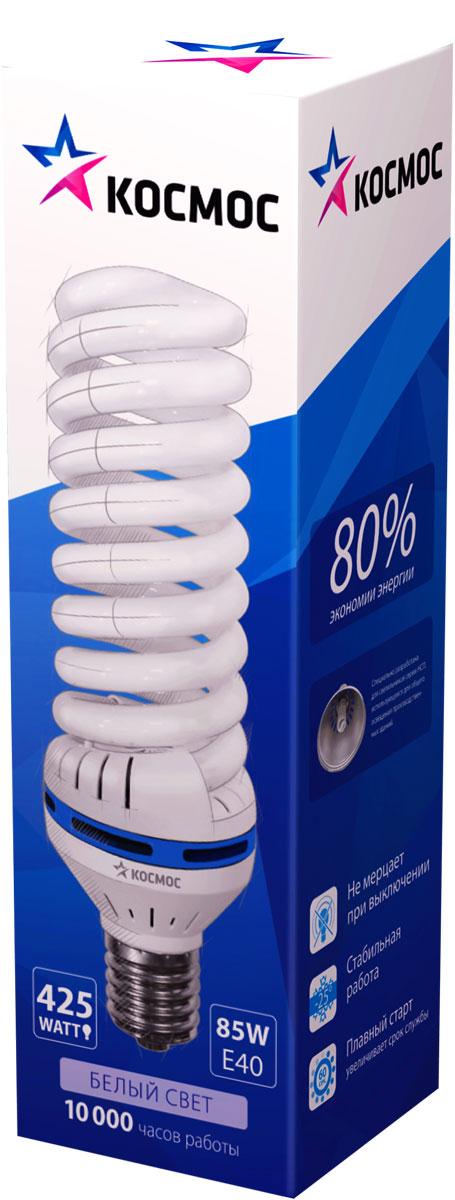 Лампа энергосберегающая Космос, цоколь Е40 , 85W, 4200КLKsmT5SPC85WE4042_mЭнергосберегающая лампа КОСМОС 85Вт, Е40, совместима со светильниками типа НСП-17 открытого типа. Мощные лампы для хозяйственного и промышленного освещения. Экономят до 80% энергии по сравнению с обычными лампами.