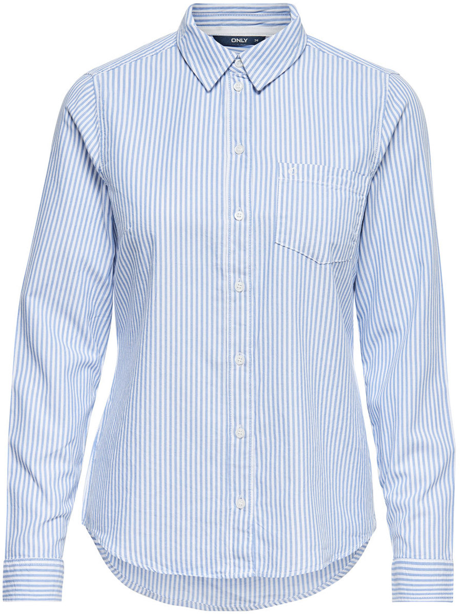 Рубашка женская Only, цвет: синий. 15138185_Light Blue Denim. Размер 36 (42)15138185_Light Blue DenimСтильная рубашка Only выполнена из 100% хлопка. Модель имеет длинные рукава с манжетами на пуговицах, отложной воротник, накладной кармашек на груди, застегивается на пуговицы. Рубашка дополнена модным принтом в полоску.