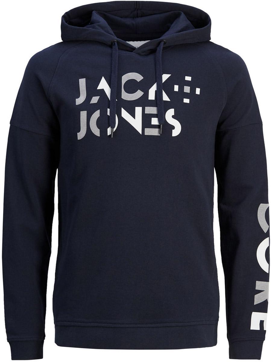 Толстовка мужская Jack & Jones, цвет: темно-синий. 12124817_Sky Captain. Размер XL (52)12124817_Sky CaptainМужская толстовка Jack & Jones выполнена из натурального хлопка. Модель с длинными рукавами и капюшоном оформлена на груди принтованной надписью.