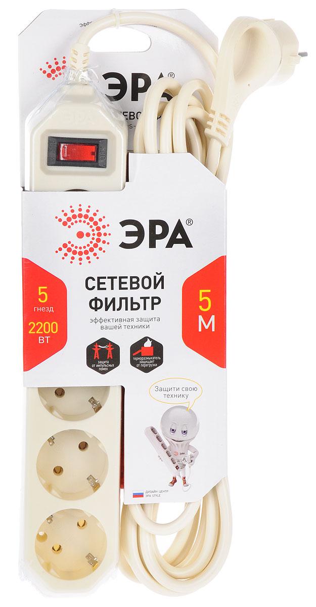 ЭРА USF-5es-5m-I, Ivory сетевой фильтр на 5 розеток (5 м)