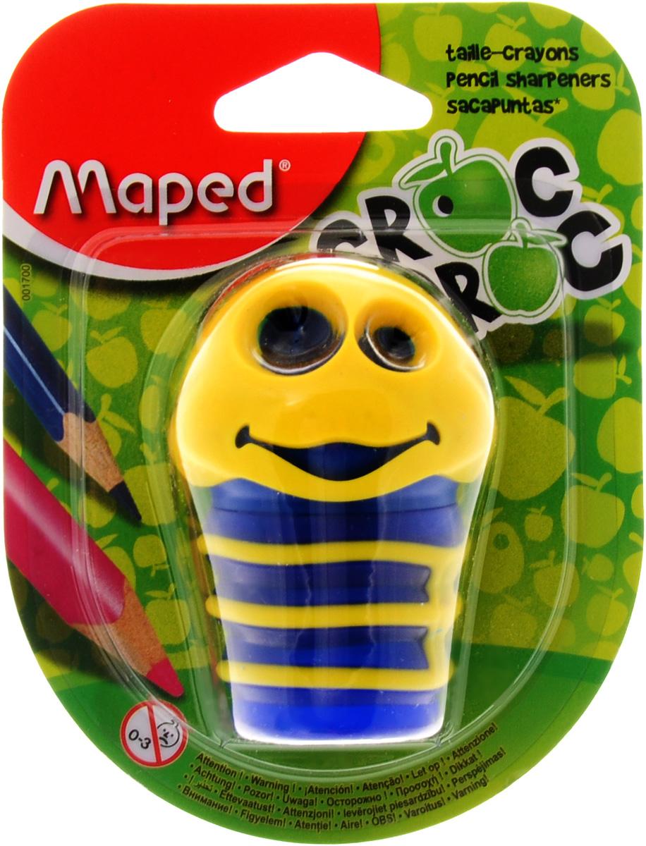 Maped Точилка Сroc Croc цвет желтый синий001700_желтый, синийТочилка Maped Сroc-Croc это точилка в виде забавной гусеницы, которая понравится детям и взрослым. Точилка изготовлена из пластика, имеет два отверстия разного диаметра, тело гусеницы служит контейнером. Предназначена для использования как в школе, так и в офисе.