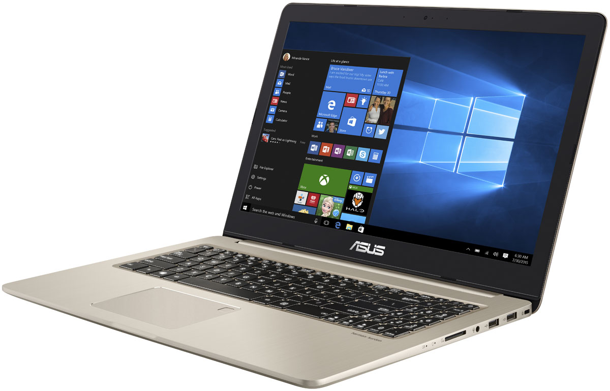 ASUS VivoBook Pro 15 N580VD (N580VD-DM194T)N580VD-DM194TASUS VivoBook Pro 15 — это тонкий и легкий высокопроизводительный ноутбук, работающий на базе процессора Intel Core 7-го поколения.Корпус каждого экземпляра VivoBook Pro 15 вырезается с помощью фрезерования из высокопрочной алюминиевой заготовки, и проходит серию сложных производственных процессов для достижения своей окончательной гладкой и элегантной формы.Благодаря видеокарте NVIDIA GeForce GTX 1050 ноутбук VivoBook Pro 15 обеспечивает безупречную графику — поэтому он идеально подходит для игр, просмотра фильмов или редактирования видео. С ее помощью он легко справится даже с самыми сложными задачами, требующими интенсивной обработки графических данных.VivoBook Pro 15 оснащен надежной системой охлаждения, обеспечивающей плавную и стабильную работу ноутбука в «тяжелых» приложениях или во время игровых марафонов. Продуманная конструкция системы охлаждения включает два вентилятора, скорость вращения которых может автоматически регулироваться (доступно 8 скоростей) для максимальной эффективности охлаждения при минимальном шуме. В состав этой компактной системы охлаждения входят тепловые трубки, а каждый из вентиляторов управляется независимо для высокоэффективного охлаждения центрального и графического процессоров.Ноутбук обладает великолепной аудиосистемой, разработанной совместно с компанией Harman Kardon. Мощные динамики с увеличенными акустическими камерами и интеллектуальным усилителем позволили реализовать качественное звучание в широком частотном диапазоне. Стереодинамикиобладают двойной катушкой, благодаря чему достигается максимально громкий и четкий звук, на который способно столь тонкое и легкое устройство. В результате аудиосистема данного ноутбука звучит более чем в три раза громче по сравнению с устройствами аналогичного класса, а также обладает более широким частотным диапазоном для воспроизведения насыщенных низких и высоких частот.Со встроенным в тачпад VivoBook Pro 15 сканером отпечатка пальца 